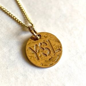 "Yves Saint Laurent YSL Circle Pendant on 24"" Chain"